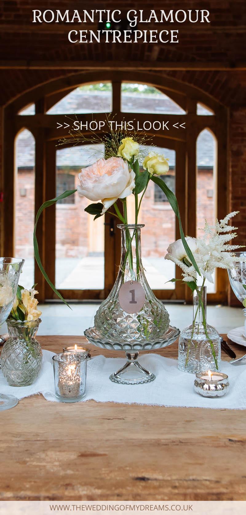decanter wedding centrepiece romantic glamour wedding table decorations