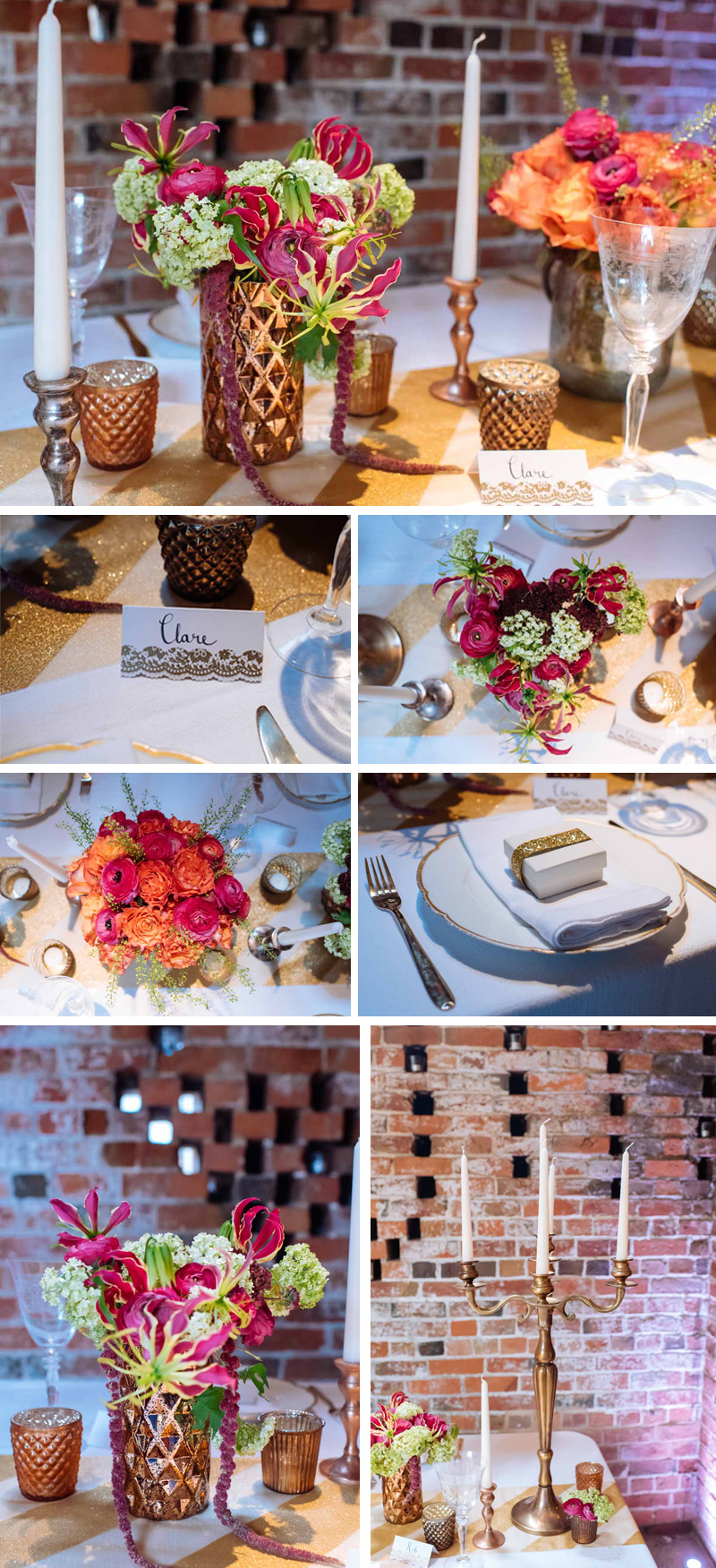 luxe metallic wedding ideas and decorations copper gold bronze with bright pink flowers 2
