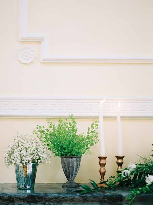 wedding fireplace ideas with candles urns candle sticks and foliage (1)