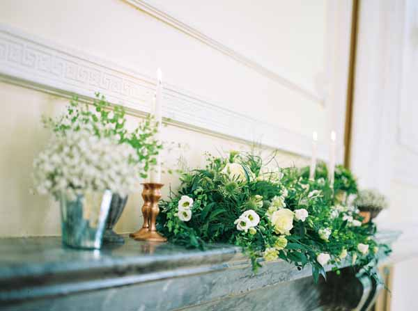 wedding fireplace ideas with candles urns candle sticks and foliage (3)