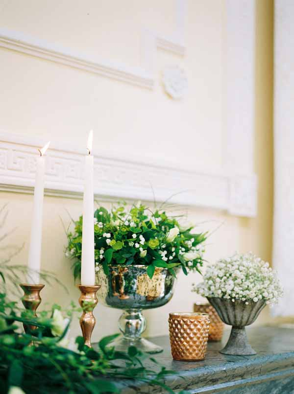 wedding fireplace ideas with candles urns candle sticks and foliage (5)