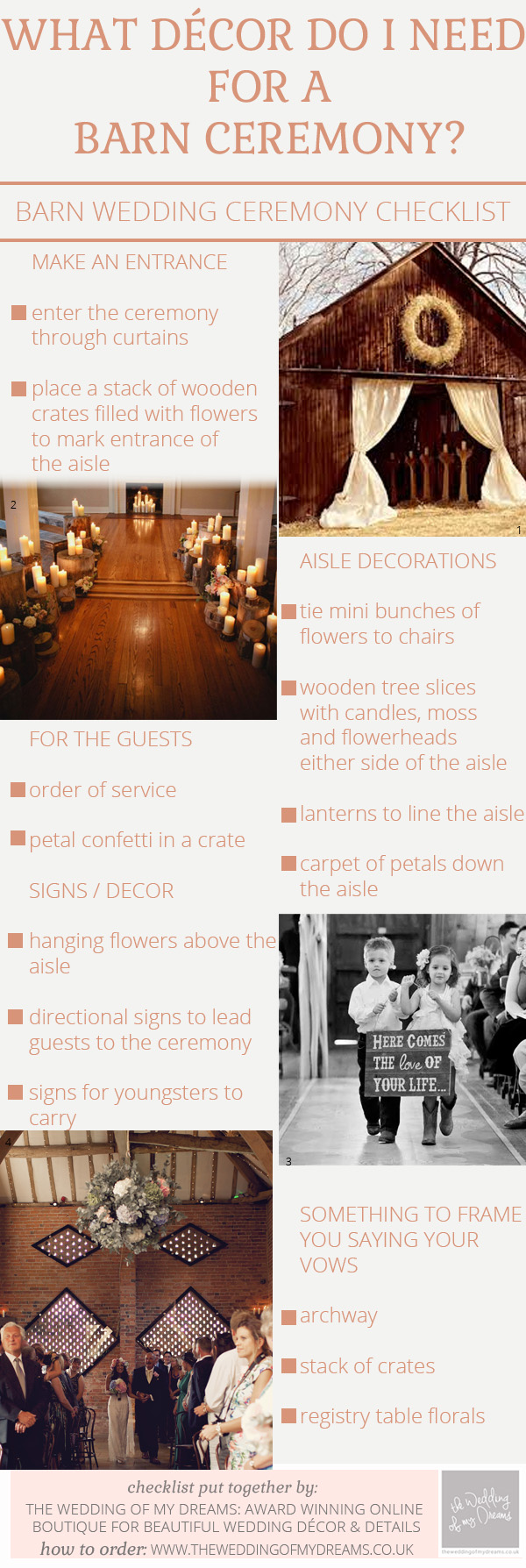 what decorations do i need for a barn wedding ceremont checklist