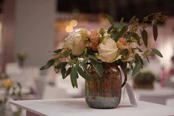 Bronze Vase wedding centrepieces