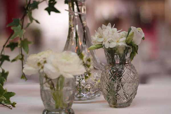 Pressed glass clear vases for wedding centrepieces