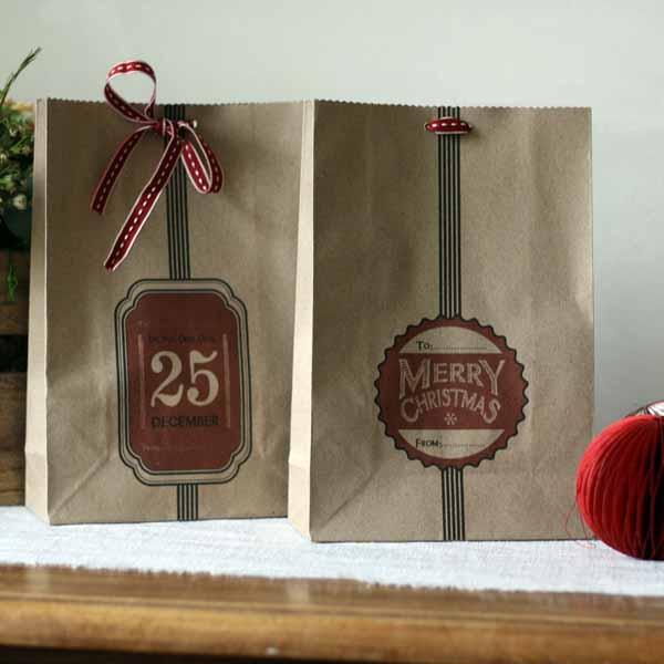 rustic christmas gift bags brown paper