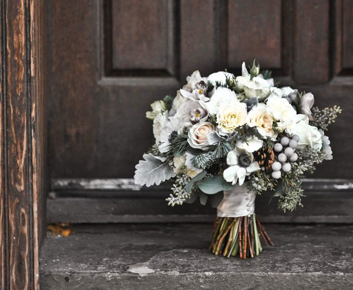 white grey winter wedding bouquets