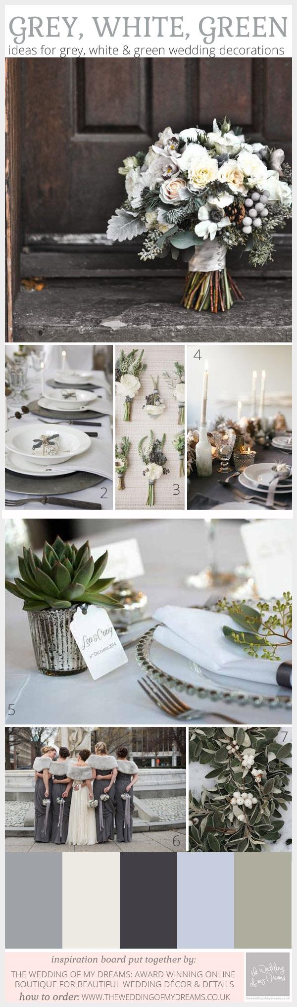 grey white green wedding inspiration board