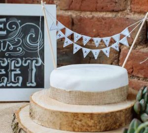mini bunting wedding cake toppers