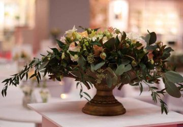 rustic footed gold urn wedding centrepiece