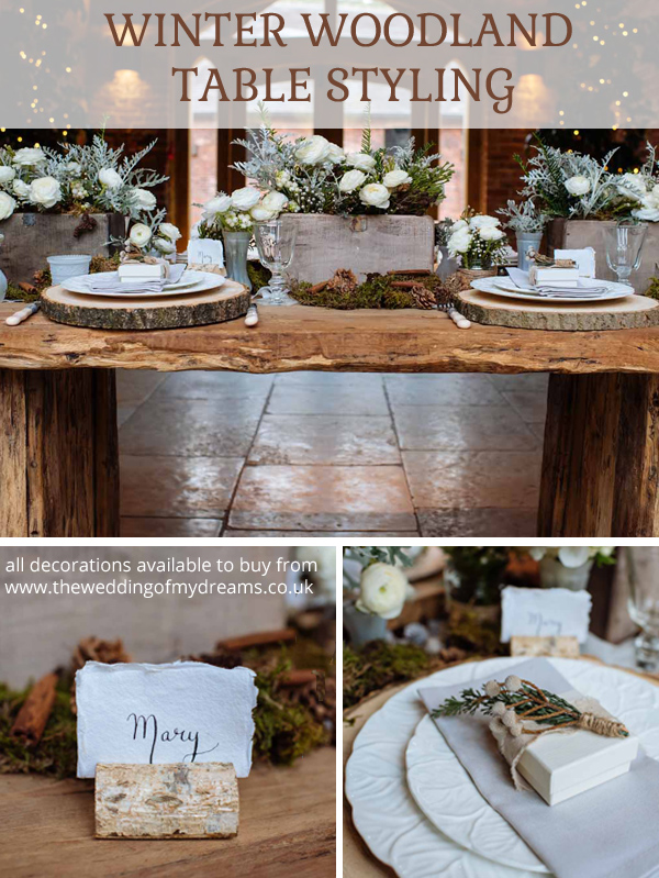 rustic winter woodland wedding table decorations