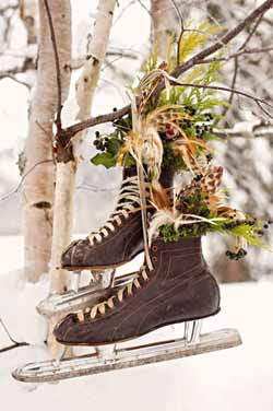vintage ice skates winter wedding prop