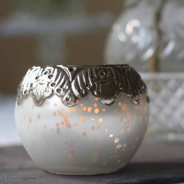 white silver frosted tea light holders winter wedding decorations