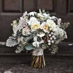 winter wedding bouquet grey and white