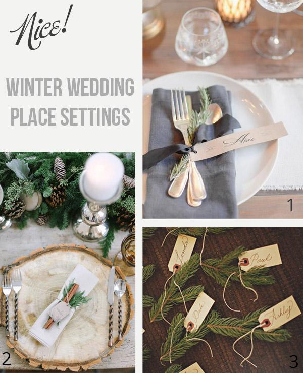 winter wedding place settings