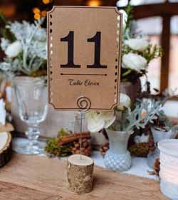 wodland wedding table number with wooden holder