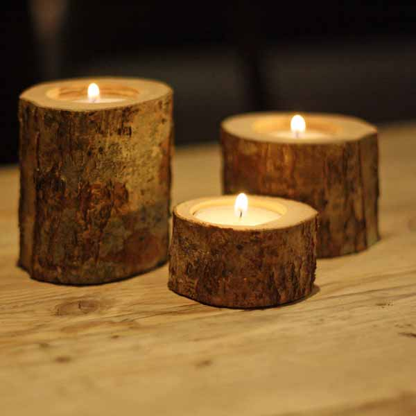 woodland rustic bark tree branch tea light holders winter wedding decorations