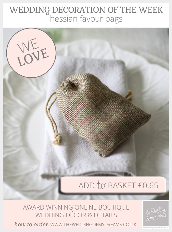 hessian wedding favour bags for rustic weddings