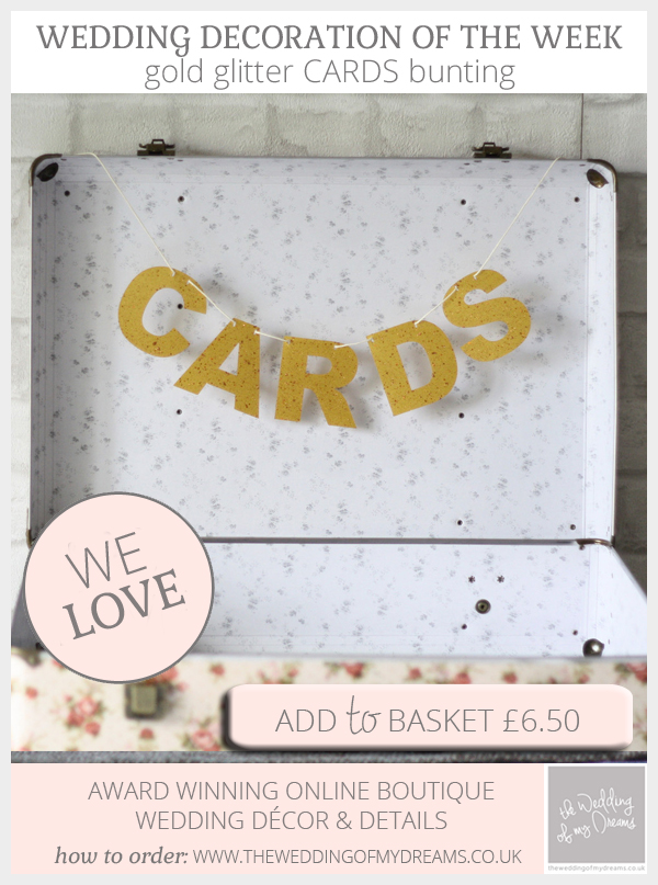 CARDS bunting wedding card and gift table gold glitter