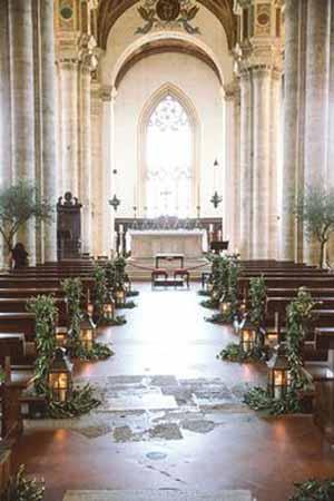 Church pew end and aisle decoration ideas @theweddingfmydreams