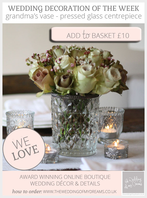 Grandma's vase - pressed glass vase wedding centrepiece available from @theweddingomd