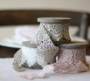 Lace Ribbon in Mocha / Dusky Pink & White - available from @theweddingomd