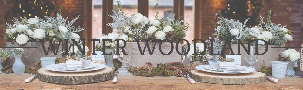 WINTER WOODLAND WEDDING DECORATIONS FOR SALE TREE SLABS RUSTIC WINTER
