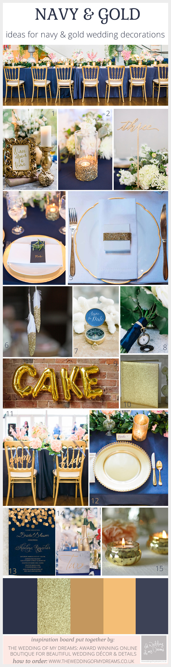 Gold and Navy Wedding Decorations and Ideas @theweddingofmydreams