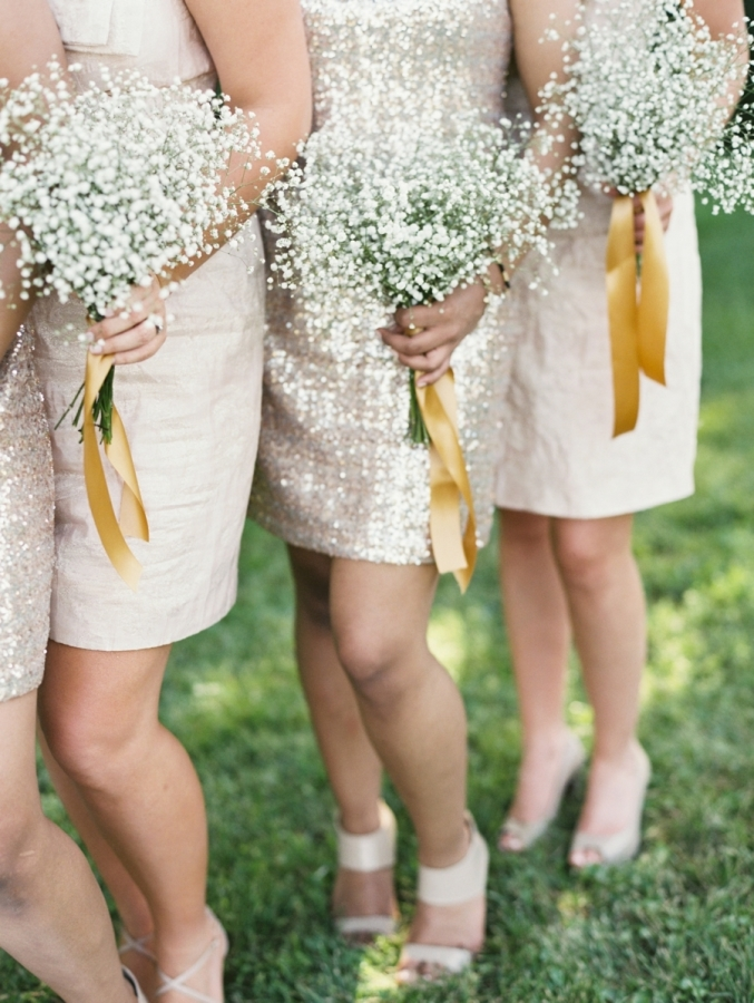 gold ribbon for bridesmaids bouquets - metallic wedding ideas