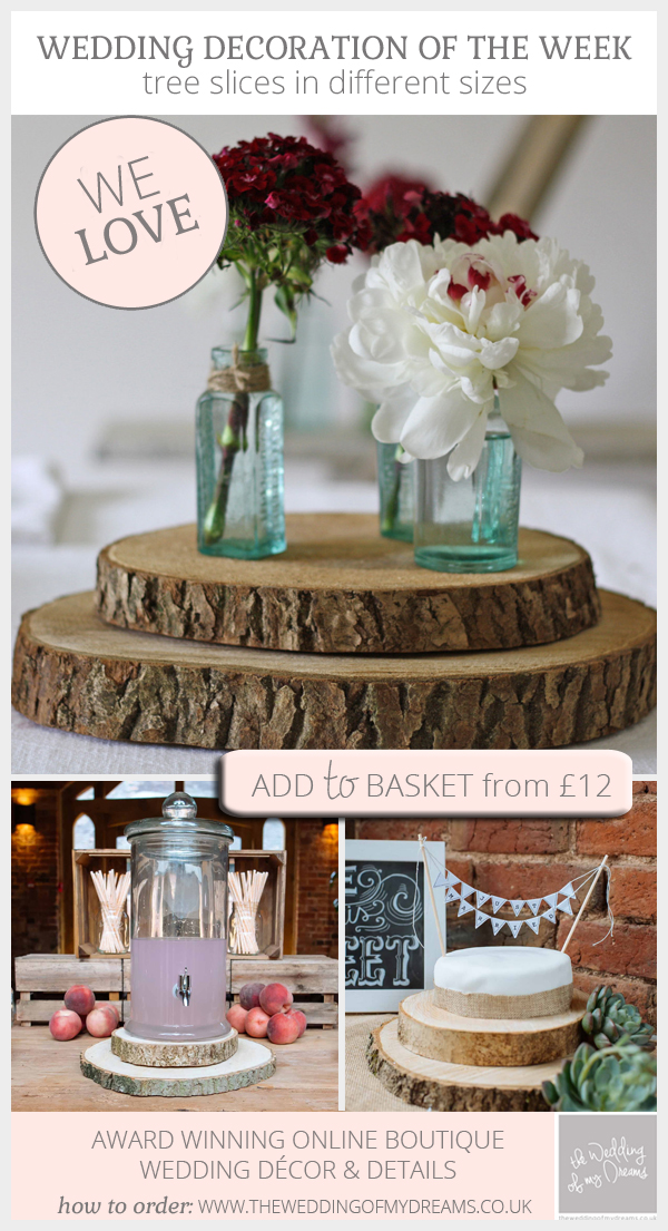Rustic Wooden Tree Slices for Wedding Decorations - Centrepieces & Cake stands - For Sale in the UK from The Wedding of my Dreams