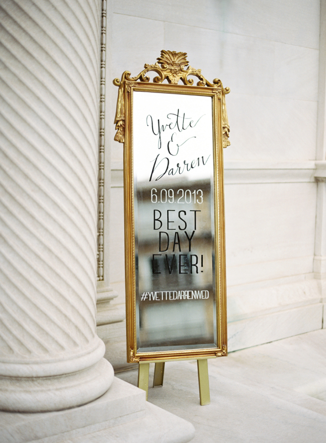turn mirrors into wedding welcome signs - metallic wedding ideas