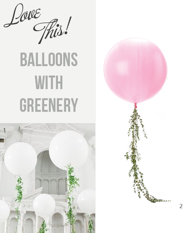 wedding balloons with greenery