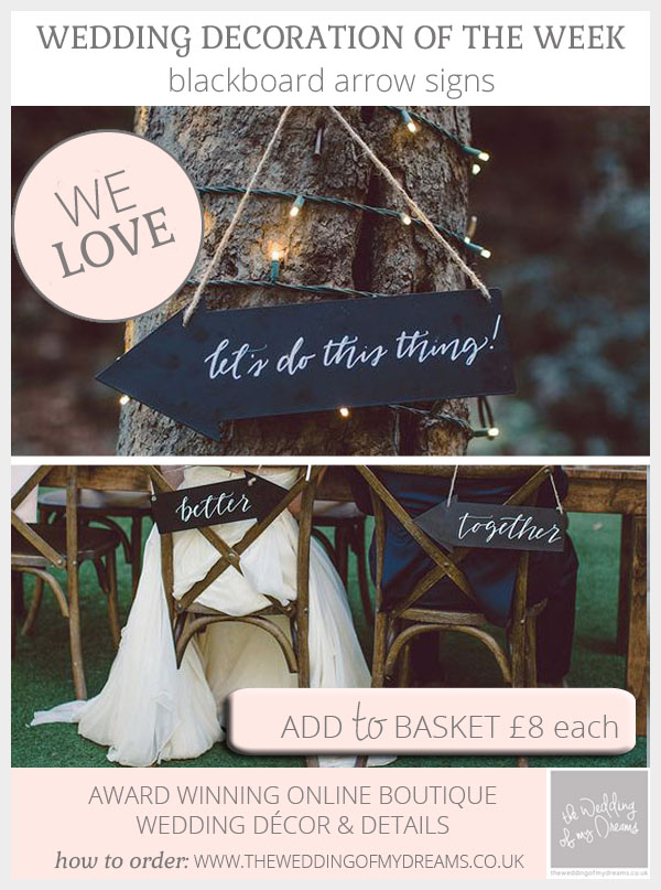 Blackboard arrow signs for wedding directional signs or chair signs available from @theweddingomd