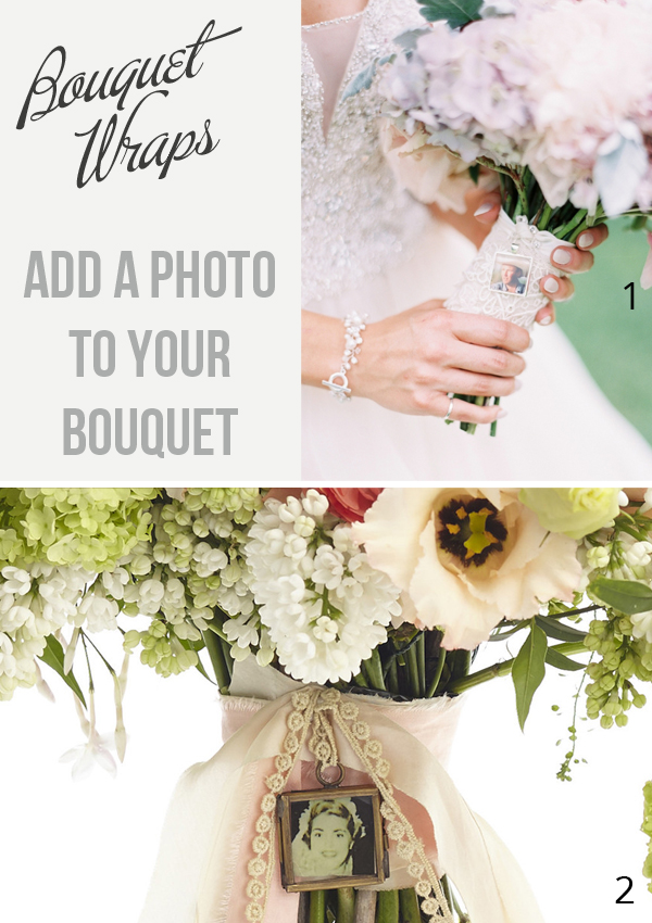 Bouquet wrap idea  add a photo to your bouquet to keep loved ones close as you walk down the aisle - bouquet photo frames available from @theweddingofmydreams