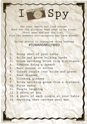FREE PRINTABLE Wedding photo prompt list for guests to upload to instagram insert your own wedding hashtag created by @theweddingomd rustic style
