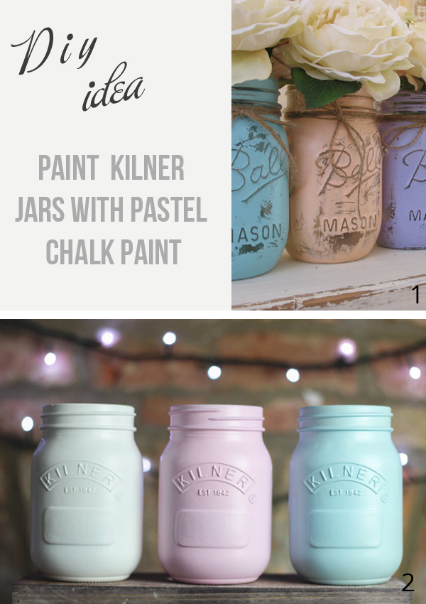 Painted kilner jars: For a DIY touch paint your kilner jars with pastel chalk paint and use as vases - kilner jars available from @theweddingofmydreams