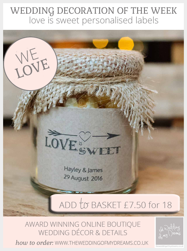 Love Is Sweet personalised rustic style labels available from @theweddingomd