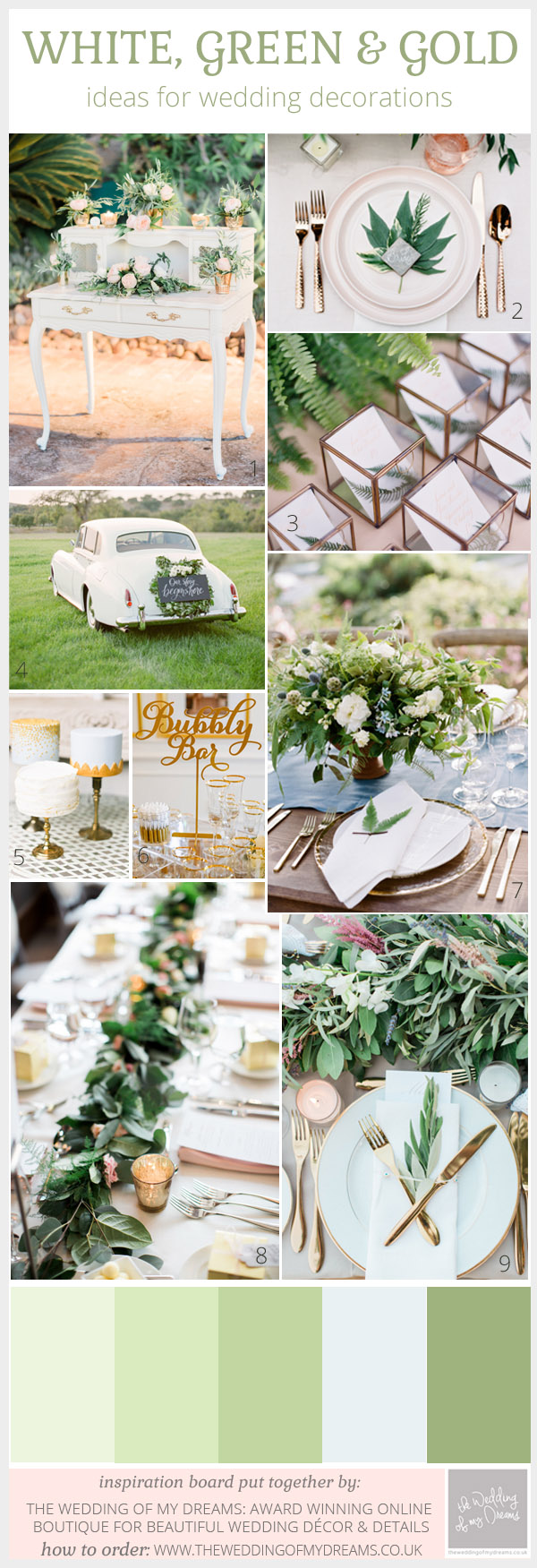 Green white and gold wedding ideas inspiration junglespirit Choice Image