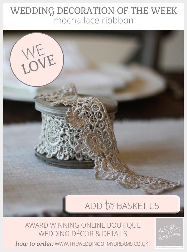 mocha lace ribbon available from @theweddingomd