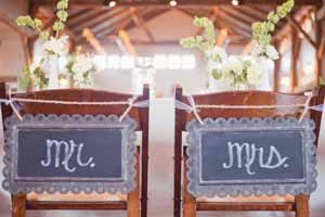 use blackboards as wedding chair backs