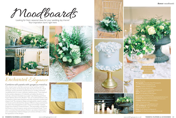 Gold and grey wedding centrepiece ideas by @theweddingomd featured in Wedding Flowers and Accessories Magazine