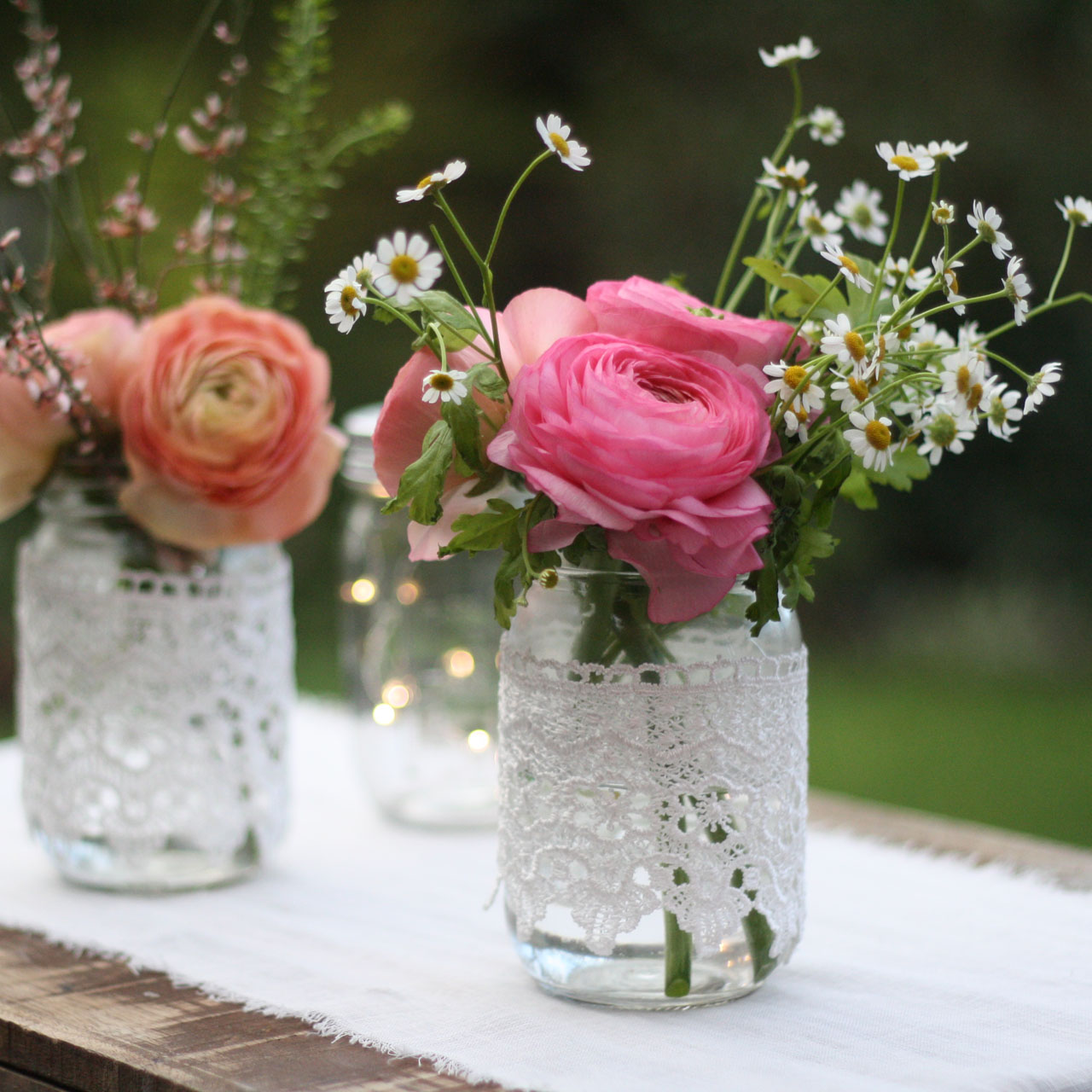 Flowers In Jars Wedding: Lace Covered Jars For Weddings