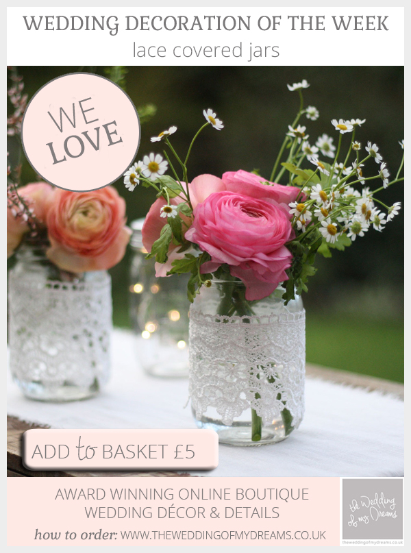 Lace covered jars for wedding vases available from @theweddingomd