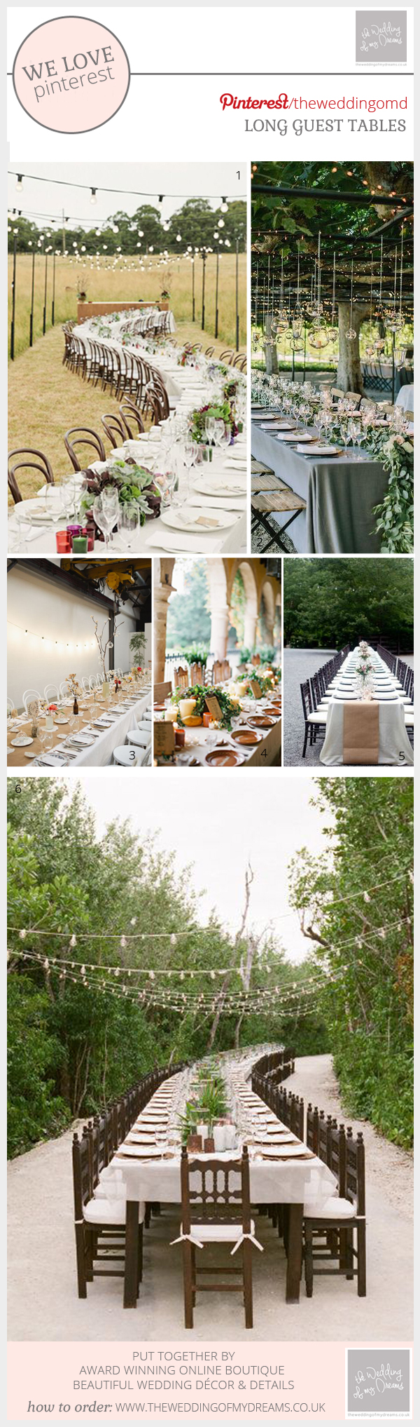 Long wedding guest tables ideas