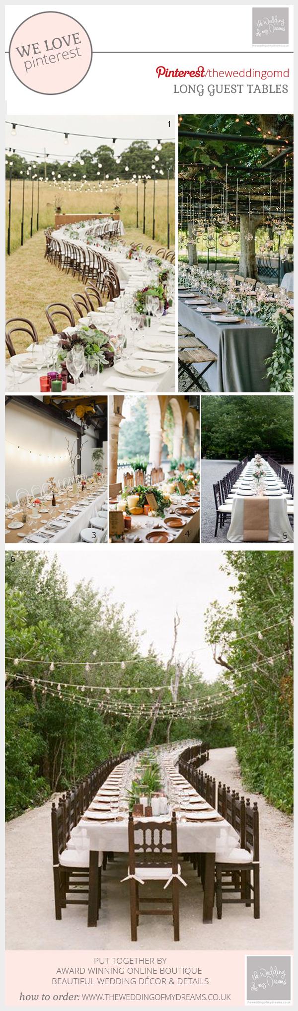 Long wedding guest tables ideas