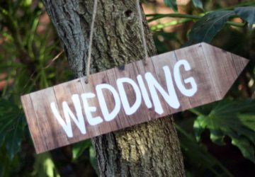 Wood Effect Wedding Directional Arrow Sign available from @theweddingomd