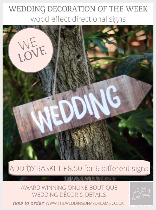 Wood effect wedding directional signs pack of 6 different signs available from @theweddingomd (directional wedding signs UK)