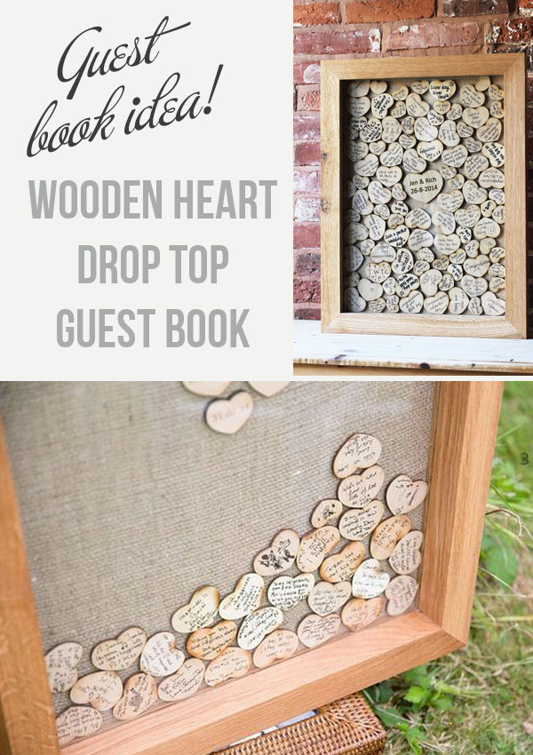 Drop top wooden heart guest book - buy these online from @theweddingomd