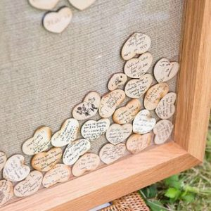 wooden heart drop top guest books square
