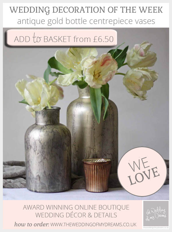 Antique gold bottle centrepiece vases available from @theweddingomd