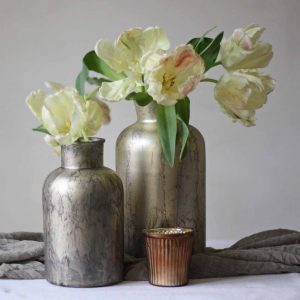Antique gold bottle vases for your wedding centrepieces available from @theweddingomd